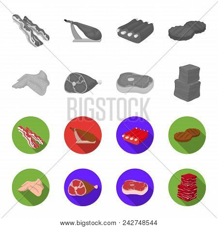 Chicken Wings, Ham, Raw Steak, Beef Cubes. Meat Set Collection Icons In Monochrome, Flat Style Vecto
