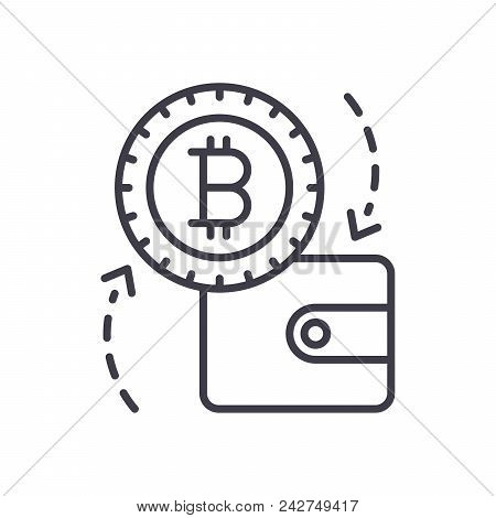 Payments With Bitcoin Black Icon Concept. Payments With Bitcoin Flat  Vector Website Sign, Symbol, I