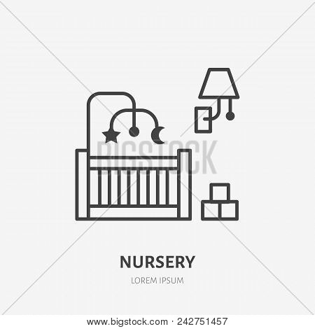 Nursery, Bedroom Flat Line Icon. Apartment Furniture Sign, Vector Illustration Of Baby Crib, Lamp, T