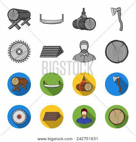 Circular Saw, A Working Carpenter, A Stack Of Logs. A Sawmill And Timber Set Collection Icons In Mon
