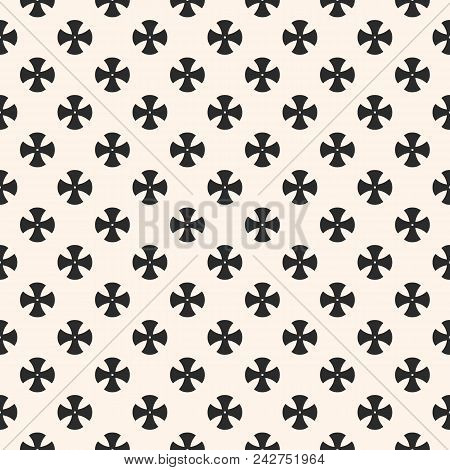 Simple Floral Pattern. Vector Minimalist Seamless Texture With Small Cross Shapes. Abstract Minimal