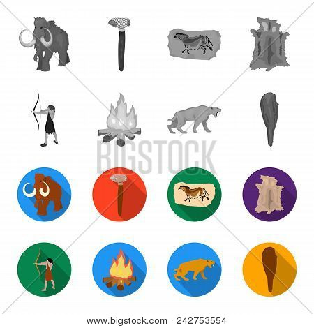 Man, Hunter, Onion, Bonfire .stone Age Set Collection Icons In Monochrome, Flat Style Vector Symbol
