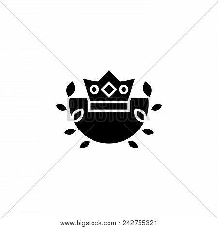 Royal Crown Emblem Black Icon Concept. Royal Crown Emblem Flat  Vector Website Sign, Symbol, Illustr
