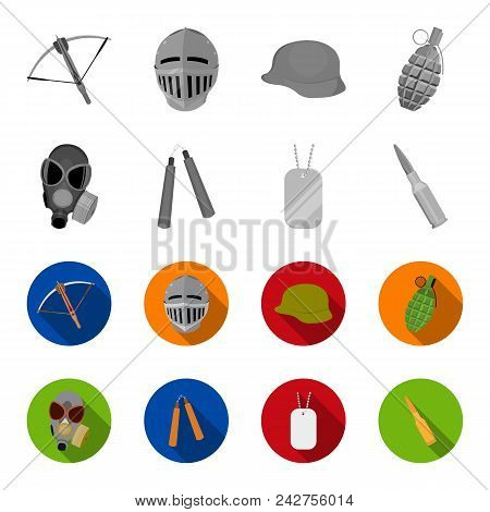 Gas Mask, Nunchak, Ammunition, Soldier Token. Weapons Set Collection Icons In Monochrome, Flat Style