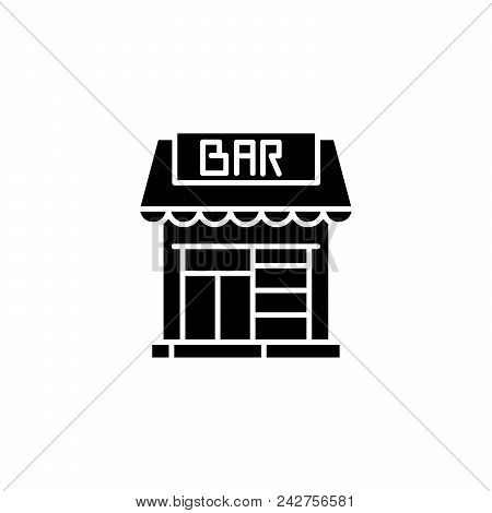 Saloon bar black icon concept. Saloon bar flat  vector website sign, symbol, illustration. poster