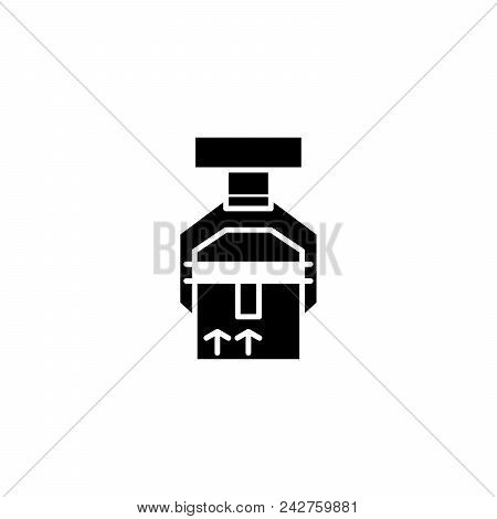Shipment Of Goods Black Icon Concept. Shipment Of Goods Flat  Vector Website Sign, Symbol, Illustrat
