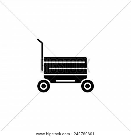 Shopping Cart Black Icon Concept. Shopping Cart Flat  Vector Website Sign, Symbol, Illustration.