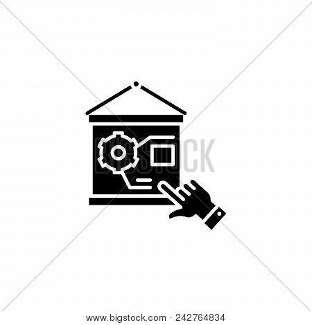 Staff Training Black Icon Concept. Staff Training Flat  Vector Website Sign, Symbol, Illustration.