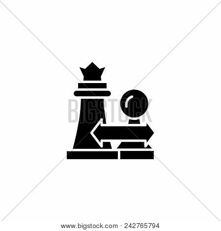 Strategic Actions Black Icon Concept. Strategic Actions Flat  Vector Website Sign, Symbol, Illustrat