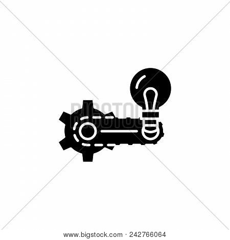Strategy Elaboration Black Icon Concept. Strategy Elaboration Flat  Vector Website Sign, Symbol, Ill