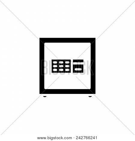 Strong Safe Box Black Icon Concept. Strong Safe Box Flat  Vector Website Sign, Symbol, Illustration.