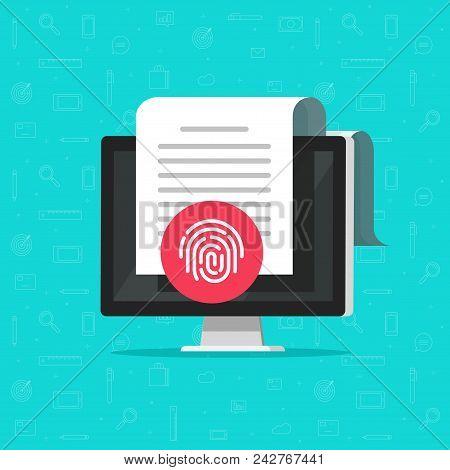 Computer Document Protection Vector, Flat Cartoon Desktop Pc With Document Protected Via Fingerprint