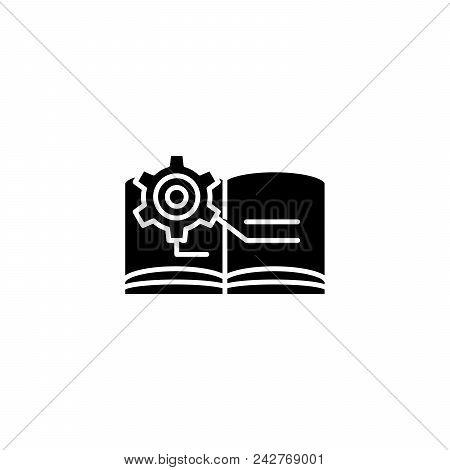 Technical Documentation Black Icon Concept. Technical Documentation Flat  Vector Website Sign, Symbo