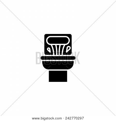 Toilet Pan Black Icon Concept. Toilet Pan Flat  Vector Website Sign, Symbol, Illustration.