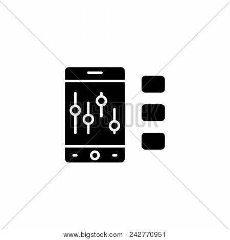 Trading Analysis Black Icon Concept. Trading Analysis Flat  Vector Website Sign, Symbol, Illustratio