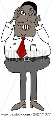 Illustration Of An Aggravated Black Businessman Clutching His Contorted Face With His Hands.