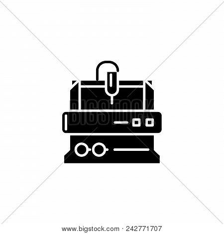 Turning Lathe Black Icon Concept. Turning Lathe Flat  Vector Website Sign, Symbol, Illustration.