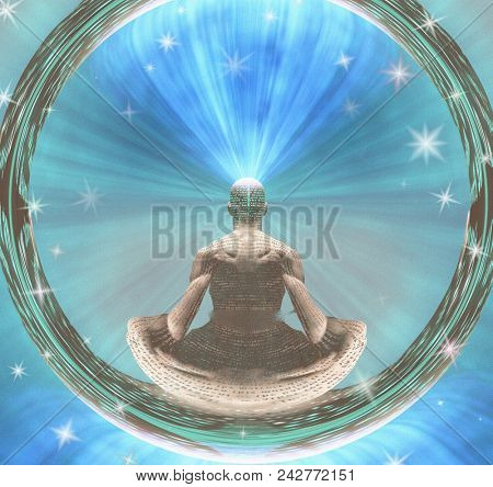 Meditating Man and Energy. 3D rendering