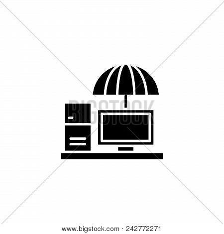 Umbrella Organization Black Icon Concept. Umbrella Organization Flat  Vector Website Sign, Symbol, I