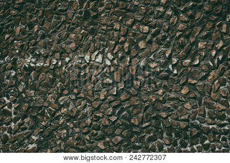 Stone Wall Texture. Dark Retro Grunge Background