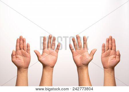 Raise Hand Up, Left And Right Hand Raise Isolate On White Backgrounds In Four Action.