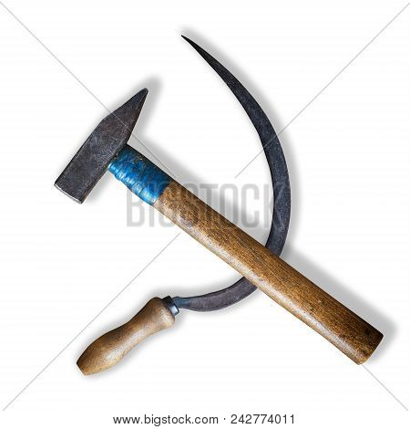 Real Sickle And Hammer Lying As The Soviet Communist Symbol Isolated On White Background With Shadow