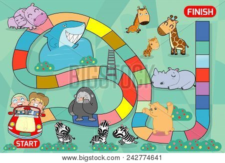 Board Game With Zoo, Illustration Of A Board Game With Zoo Background.  Kids Zoo Animals Board Game,