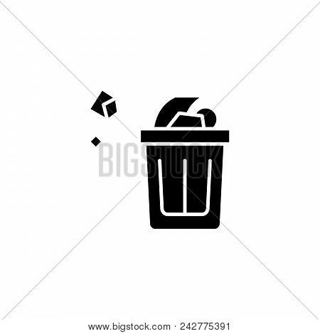Wastepaper Basket Black Icon Concept. Wastepaper Basket Flat  Vector Website Sign, Symbol, Illustrat