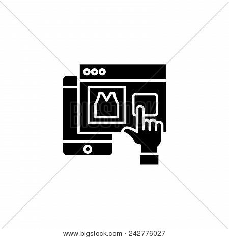 Web Mobile Shopping Black Icon Concept. Web Mobile Shopping Flat  Vector Website Sign, Symbol, Illus