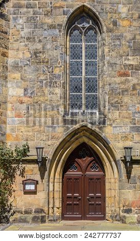 Door Of The Reformed Church In Schuttorf, Germany