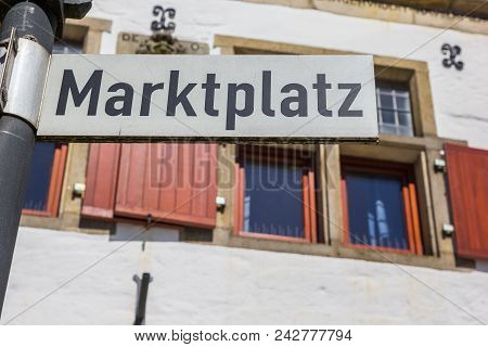 Sign On The Central Market Square Of Rheine, Germany
