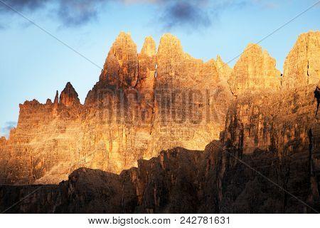 Evening View Of Mount Croda Da Lago From Passo Giau, South Tirol, Alps Dolomites Mountains, Italy