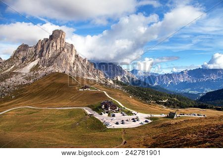 Passo Giau Near Cortina D Ampezzo And Mout Ra Gusela And Nuvolau, Alps Dolomites Mountains, Italy