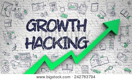 Growth Hacking - Business Concept With Hand Drawn Icons Around On The Brick Wall Background. Growth