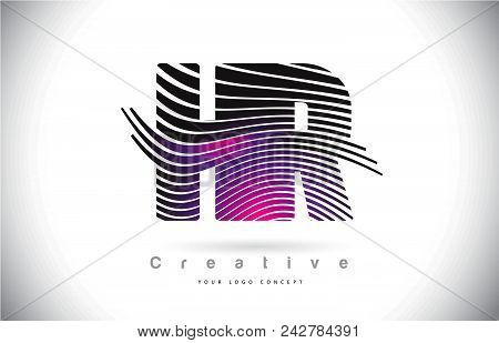Hr H R Zebra Texture Letter Logo Design With Creative Lines And Swosh In Purple Magenta Color Vector