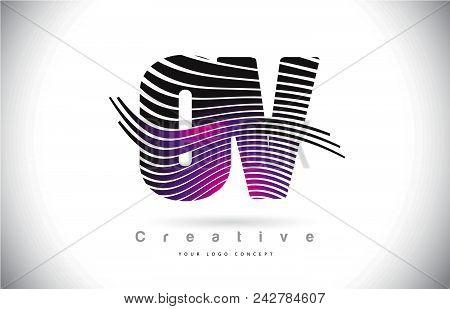 Ov O V Zebra Texture Letter Logo Design With Creative Lines And Swosh In Purple Magenta Color Vector