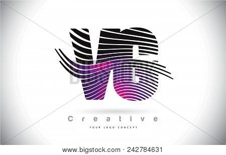 Vg V G Zebra Texture Letter Logo Design With Creative Lines And Swosh In Purple Magenta Color Vector