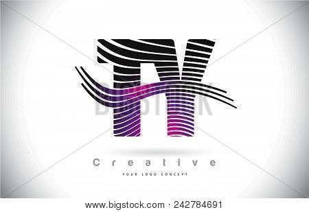 Ty T Y Zebra Texture Letter Logo Design With Creative Lines And Swosh In Purple Magenta Color Vector