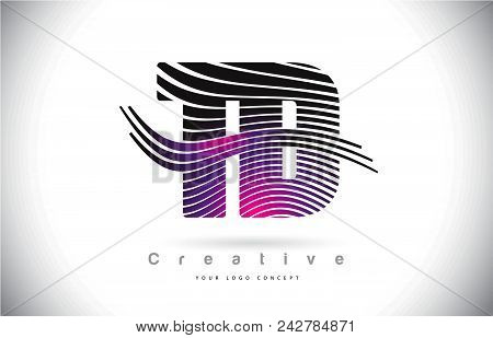 Td T D Zebra Texture Letter Logo Design With Creative Lines And Swosh In Purple Magenta Color Vector