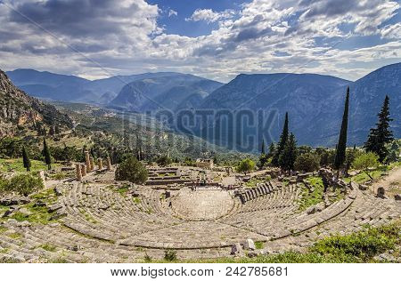 Delphi, Phocis / Greece. Ancient Theater Of Delphi. The Theater Of Delphi, With A Total Capacity Of