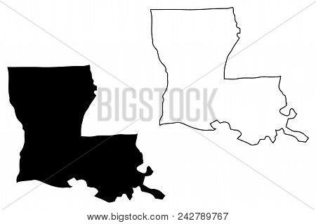 Louisiana Map Vector Illustration, Scribble Sketch Louisiana Map