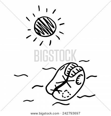 Doodle Life Jacket Is Floating On The Open Sea. Vector Illustration. Hand Drawn Sketch Life Jacket O