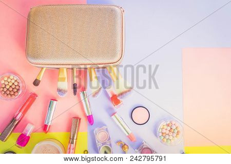 Colorful Make Up Products With Golden Pursue Close Up Pop Art Top View Flat Lay Scene, Retro Toned