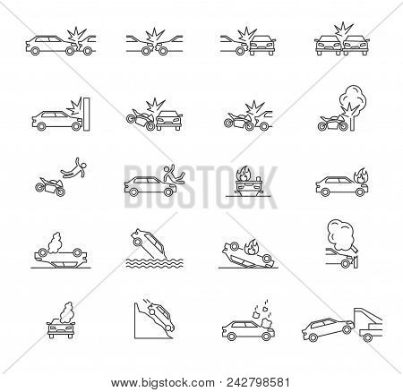 Car Accident Signs Black Thin Line Icon Set Include Of Collision, Damage, Pedestrian And Breaking. V