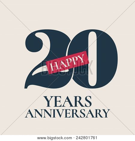 20 Years Anniversary Vector Logo, Icon. Template Design Element, Symbol With Number For 20th Anniver