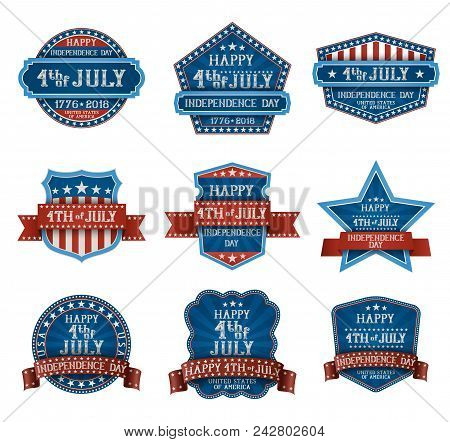 Fourth Of July Typographic Design Elements, American Independence Day Greetings, Eps 10 Contains Tra