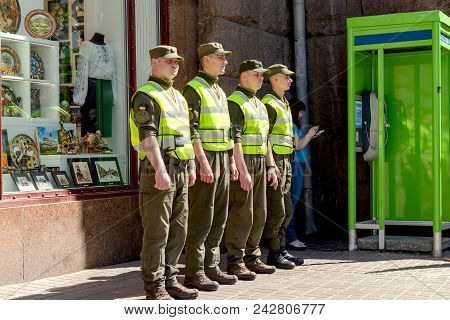Kiev, Ukraine, May 2018: - Soldiers Of The National Guard Of Ukraine Guarding The Order Before Enter