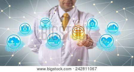 Unrecognizable Doctor Of Medicine Accessing Secure Data On Cloud Server. Healthcare Information Tech