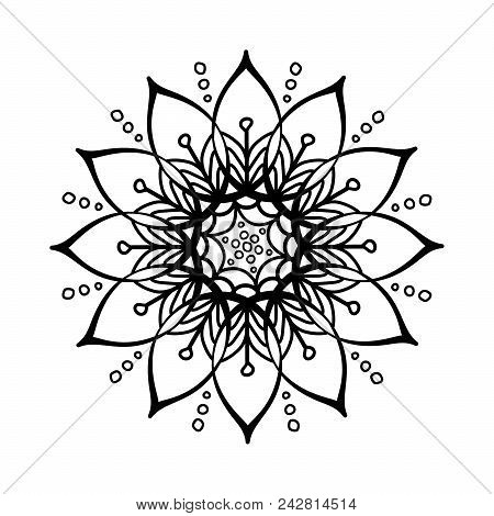 Black Pattern Vector Flower Mandala. Design Elements. Coloring Book Page. Oriental Circle Pattern, I