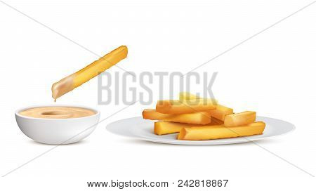 Vector Realistic Golden French Fries, Heap Of Fried Potato Sticks In White Plate And Bowl With Sauce